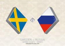 Σουηδία εναντίον της Ρωσίας, ένωση Β, ομάδα 2 Ανταγωνισμός ποδοσφαίρου της Ευρώπης Απεικόνιση αποθεμάτων