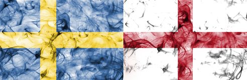 Σουηδία εναντίον της σημαίας καπνού της Αγγλίας Στοκ Εικόνες