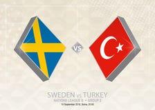 Σουηδία εναντίον της Τουρκίας, ένωση Β, ομάδα 2 Ανταγωνισμός ποδοσφαίρου της Ευρώπης Διανυσματική απεικόνιση