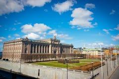 Σουηδικά σπίτι και Riksplan του Κοινοβουλίου Στοκ Εικόνες