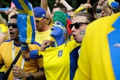 Σουηδική παρέλαση ανεμιστήρων Παγκόσμιο Κύπελλο της FIFA Στοκ φωτογραφία με δικαίωμα ελεύθερης χρήσης