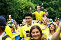 Σουηδική παρέλαση ανεμιστήρων στο Παγκόσμιο Κύπελλο της FIFA Στοκ εικόνα με δικαίωμα ελεύθερης χρήσης