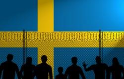 Σουηδική σημαία πίσω από τον ασφαλή φράκτη διανυσματική απεικόνιση