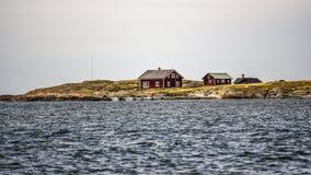 Σουηδικά εξοχικά σπίτια από τη σουηδική ακτή σε Varberg Στοκ Εικόνες