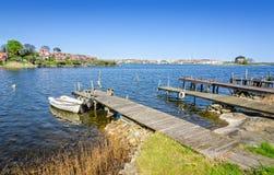 Σουηδικές ξύλινες γέφυρες σε Karlskrona Στοκ εικόνα με δικαίωμα ελεύθερης χρήσης