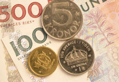 Σουηδικός στενός επάνω νομίσματος Στοκ Φωτογραφία