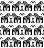 Σουηδικό Dala ή Daleclarian σχέδιο τέχνης αλόγων άνευ ραφής λαϊκό ελεύθερη απεικόνιση δικαιώματος