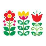 Σουηδικό floral αναδρομικό σχέδιο - παραδοσιακό λαϊκό σχέδιο τέχνης διανυσματική απεικόνιση
