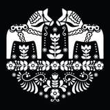 Σουηδικό floral λαϊκό σχέδιο αλόγων Dala ή Daleclarian στο Μαύρο απεικόνιση αποθεμάτων