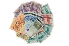 Σουηδικό kronor και ευρο- τραπεζογραμμάτια Στοκ Εικόνα