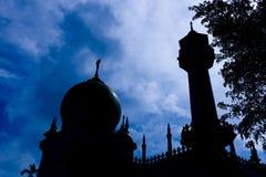 σουλτάνος Σινγκαπούρης σκιαγραφιών μουσουλμανικών τεμενών Στοκ Εικόνα