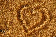 σουσάμι σπόρων καρδιών Στοκ Εικόνες