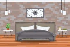 Σοφιτών διανυσματική απεικόνιση σχεδίου ύφους εσωτερική Κρεβάτι μπροστά από το τουβλότοιχο με τους δευτερεύοντες πίνακες, πολυέλα Στοκ Εικόνα