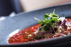 Σούπα λαχανικό ντοματών σούπας κύπελλων ιταλική ντομάτα σούπας Μεσογειακή σούπα ντοματών Ιταλικό cuicsine ιταλική μεσογειακή μοτσ Στοκ Φωτογραφία