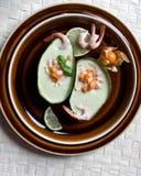 σούπα γαρίδων salsa physalis αβοκάντο Στοκ Εικόνα