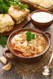 Σούπα και πίτα λάχανων Στοκ εικόνα με δικαίωμα ελεύθερης χρήσης