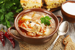 Σούπα και πίτα λάχανων Στοκ Εικόνες