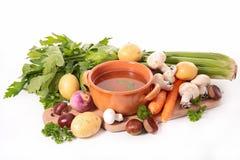 Σούπα και συστατικό στοκ εικόνες