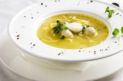 Σούπα κοτόπουλου με τα κεφτή, τα αυγά ορτυκιών και τα νουντλς στο άσπρο πιάτο στοκ εικόνες