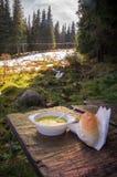 Σούπα κοτόπουλου στον πιό forrest Στοκ Φωτογραφία