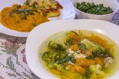 Σούπα κοτόπουλου με την κολοκύθα και το μπρόκολο Στοκ φωτογραφίες με δικαίωμα ελεύθερης χρήσης