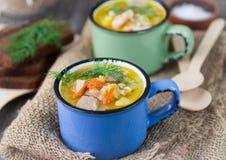 Σούπα κοτόπουλου με το κριθάρι και τα λαχανικά Στοκ φωτογραφία με δικαίωμα ελεύθερης χρήσης