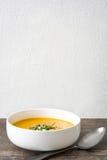Σούπα κολοκύθας και σπόροι κολοκύθας στο αγροτικό ξύλινο υπόβαθρο Στοκ Εικόνες