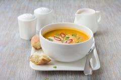 Σούπα κολοκύθας με το γάλα καρύδων Στοκ εικόνα με δικαίωμα ελεύθερης χρήσης