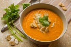 Σούπα κολοκύθας με croutons Στοκ Εικόνες