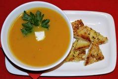 Σούπα κρέμας κολοκύθας με croutons στοκ φωτογραφίες με δικαίωμα ελεύθερης χρήσης