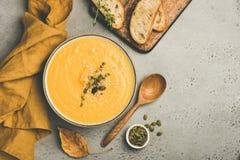 Σούπα κρέμας κολοκύθας στο συγκεκριμένο υπόβαθρο στοκ φωτογραφία με δικαίωμα ελεύθερης χρήσης
