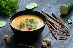 Σούπα κρέμας κολοκύθας με croutons στοκ φωτογραφία με δικαίωμα ελεύθερης χρήσης