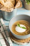 Σούπα κρέμας μανιταριών με την κτυπημένη κρέμα στοκ φωτογραφία με δικαίωμα ελεύθερης χρήσης