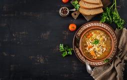Σούπα κριθαριού με τα καρότα, την ντομάτα, το σέλινο και το κρέας στοκ φωτογραφία με δικαίωμα ελεύθερης χρήσης