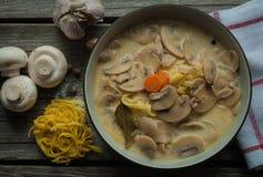 Σούπα μανιταριών με τα λαχανικά Στοκ Εικόνα
