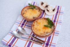 Σούπα με κρέας μανιταριών cocotte Στοκ Εικόνα