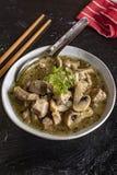 Σούπα με τα κομμάτια του χοιρινού κρέατος και των μανιταριών στοκ εικόνες με δικαίωμα ελεύθερης χρήσης