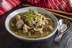 Σούπα με τα κομμάτια του χοιρινού κρέατος και των μανιταριών στοκ εικόνα