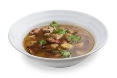 Σούπα με τα λουκάνικα και τα μανιτάρια στοκ φωτογραφία