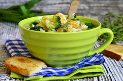 Σούπα με το κεφτές μπρόκολου, ρυζιού και κοτόπουλου Στοκ Φωτογραφίες