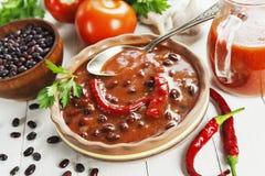 Σούπα με το κόκκινο πιπέρι φασολιών και τσίλι στοκ εικόνες με δικαίωμα ελεύθερης χρήσης