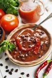 Σούπα με το κόκκινο πιπέρι φασολιών και τσίλι στοκ εικόνα