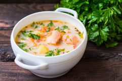 Σούπα με το σολομό Φινλανδία στοκ εικόνες