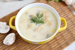 Σούπα με το τυρί και μανιτάρια σε ένα κίτρινο πιάτο Στοκ Φωτογραφία