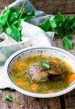 Σούπα με sorrel και ένα ψάρι Εκλεκτική εστίαση Στοκ εικόνες με δικαίωμα ελεύθερης χρήσης