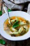 Σούπα με sorrel και ένα ψάρι Εκλεκτική εστίαση Στοκ Φωτογραφίες