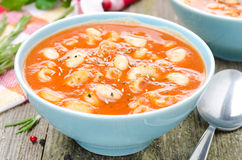 Σούπα ντοματών με τα ζυμαρικά, τα άσπρα φασόλια και το δεντρολίβανο σε ένα κύπελλο Στοκ Εικόνες