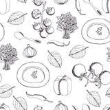 Σούπα ντοματών με το άνευ ραφής σχέδιο βασιλικού Στοκ εικόνες με δικαίωμα ελεύθερης χρήσης