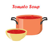Σούπα ντοματών στο κύπελλο, πιάτο Καυτό γεύμα με τα λαχανικά, κρέας Στοκ Φωτογραφίες