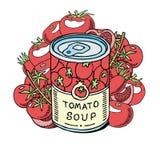 Σούπα ντοματών φιαγμένη από οργανική διανυσματική απεικόνιση εμβλημάτων λαχανικών r Μπορέστε με το γεύμα Φυσικά προϊόντα διανυσματική απεικόνιση